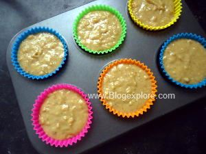 batter in muffin pan for baking eggless dates muffins