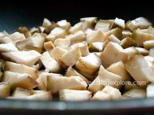 adding chopped raw banana for vazhakkai fry