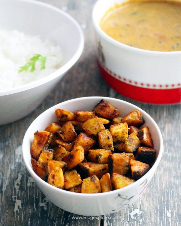 vazhakkai fry recipe, easy raw banana fry recipe, kacha kela sabzi