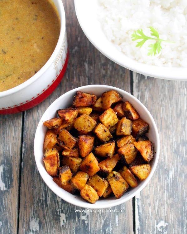 easy vazhakkai fry, raw banana fry recipe, kacha kela sabzi