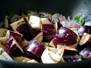 adding kathirikai for brinjal fry