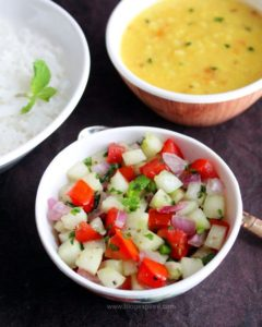 kachumber salad, indian cucumber onion tomato salad recipe, kachumber salad recipe indian