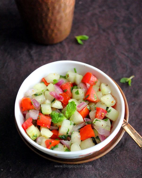 kachumber salad, indian cucumber onion tomato salad recipe, kachumber salad recipe indian