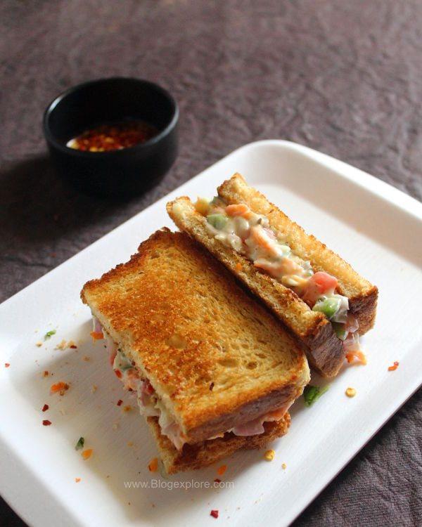 Vegetable Mayonnaise Sandwich Recipe Veg Mayo Sandwich